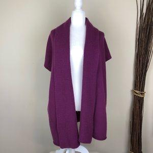 EILEEN FISHER | Purple Cashmere Long Open Cardigan